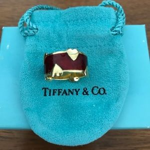 Tiffany & Co Schlumberger Gold Heart Enamel Ring